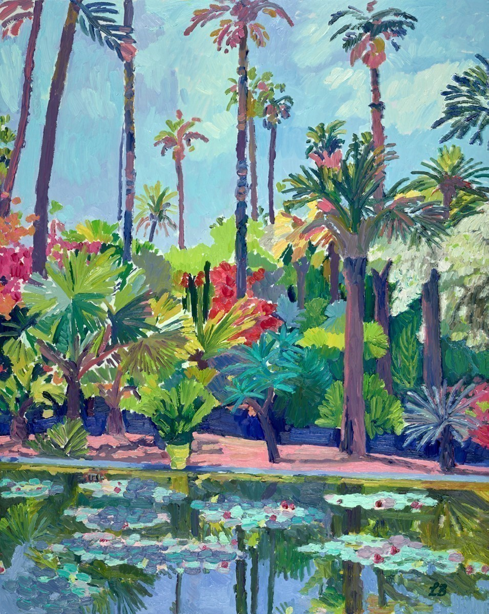 Beautiful Blue Garden by Leila Barton -  sized 32x39 inches. Available from Whitewall Galleries